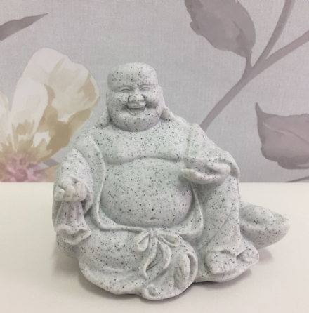 Small Granite Laughing Buddha Holding Bowl